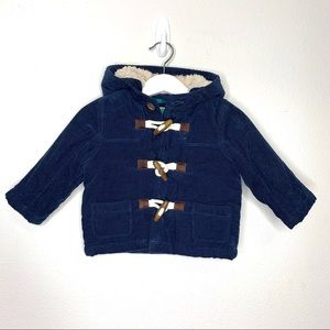 Baby Boden Navy Corduroy Toggle Closure Coat